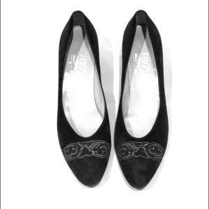 Salvatore Ferragamo Black Suede Pumps Shoes 8.5XN